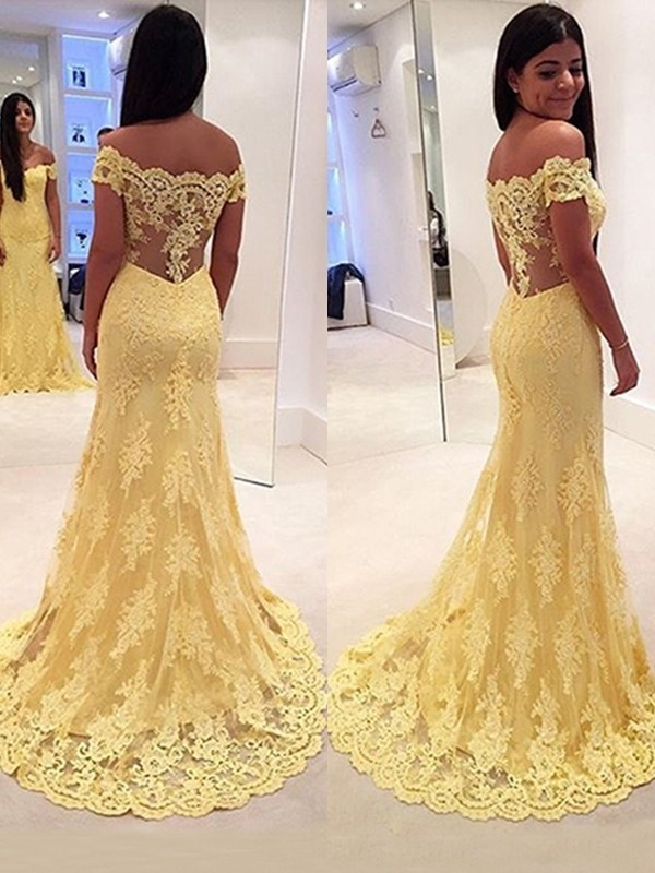 Sweep/Brush Train Mermaid Off-the-Shoulder Sleeveless Lace Dresses
