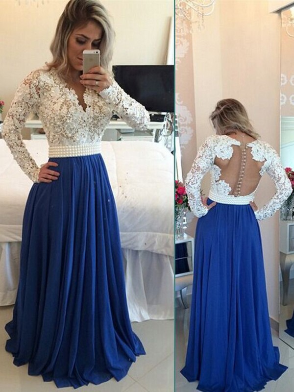 Floor-Length A-Line/Princess V-neck Long Sleeves Chiffon Dresses