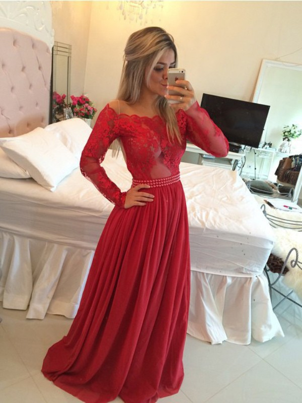 Sweep/Brush Train A-Line/Princess Off-the-Shoulder Long Sleeves Applique Chiffon Dresses