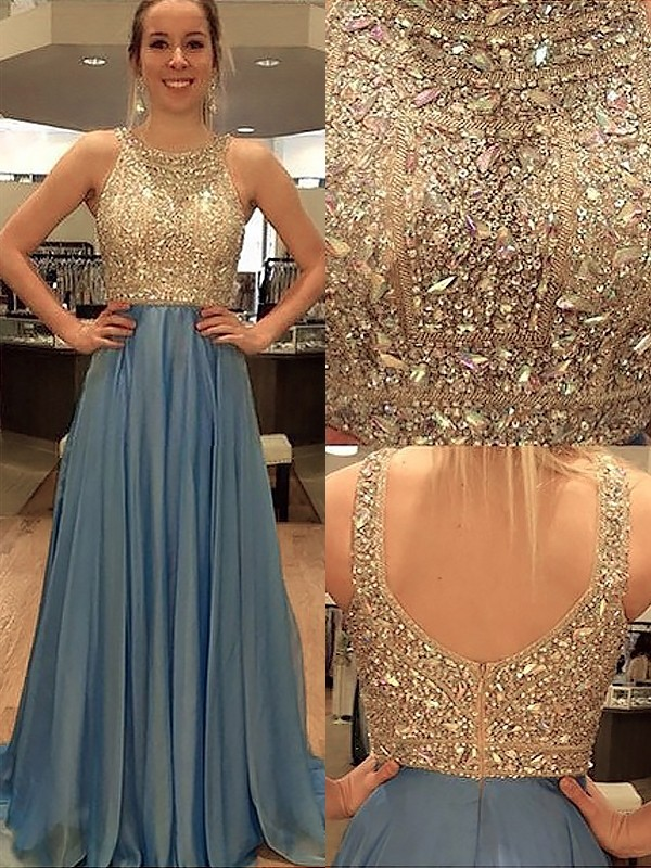 Sweep/Brush Train A-Line/Princess Scoop Sleeveless Beading Chiffon Dresses