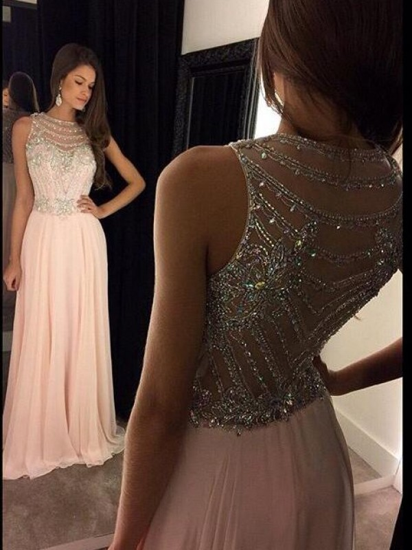 b5fbfe346c0 Floor-Length A-Line Princess Scoop Sleeveless Crystal Chiffon Dresses