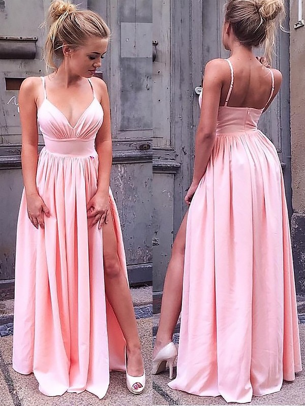 Floor-Length A-Line/Princess Straps Sleeveless Ruched Chiffon Dresses