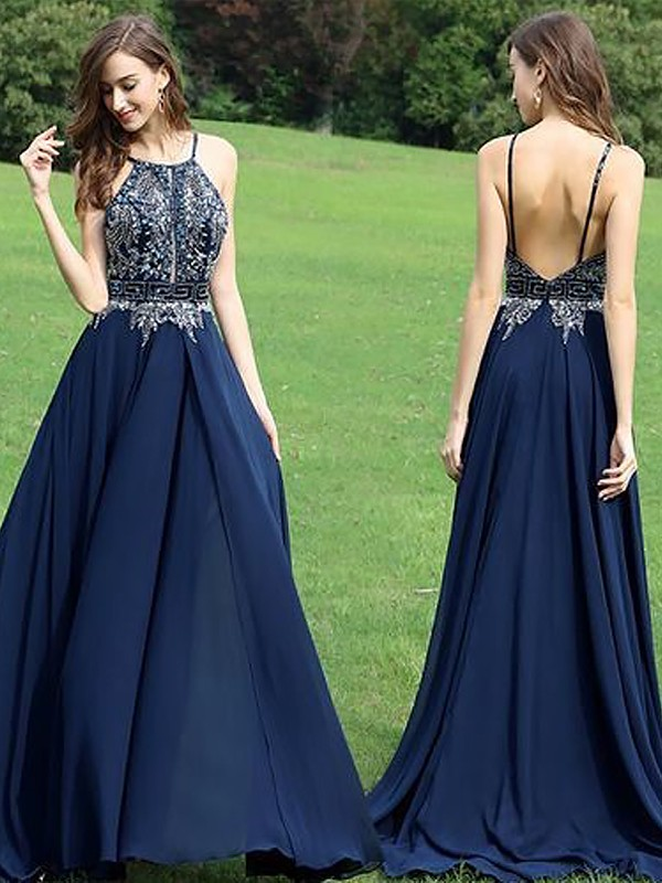 Sweep/Brush Train A-Line/Princess Halter Sleeveless Beading Chiffon Dresses