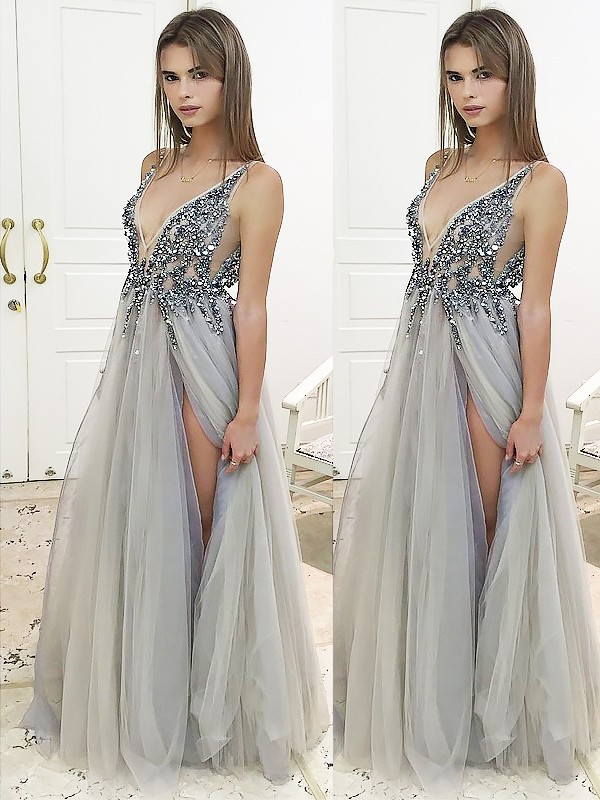 Floor-Length A-Line/Princess V-neck Sleeveless Beading Tulle Dresses