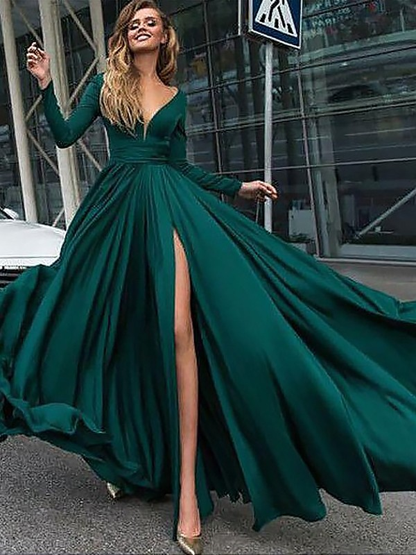 Sweep/Brush Train A-Line/Princess V-neck Long Sleeves Ruffles Satin Dresses