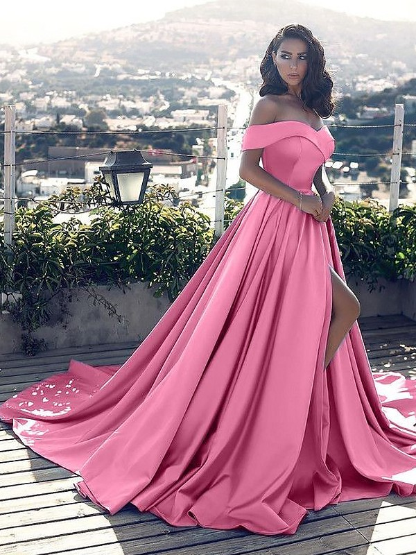 Court Train A-Line/Princess Off-the-Shoulder Sleeveless Ruffles Satin Dresses
