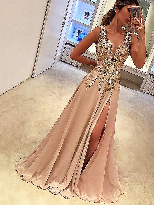 Floor-Length A-Line/Princess V-neck Sleeveless Applique Silk like Satin Dresses