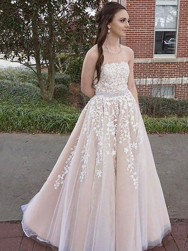 Floor-Length A-Line/Princess Strapless Sleeveless Applique Tulle Dresses