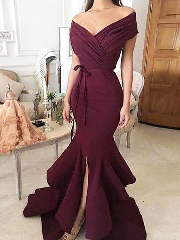 Floor-Length Trumpet/Mermaid Off-the-Shoulder Sleeveless Ruched Satin Dresses
