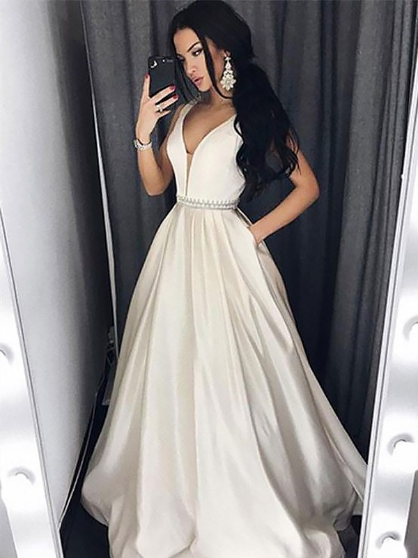 Sweep Train A-Line/Princess V-neck Sleeveless Beading Satin Dresses