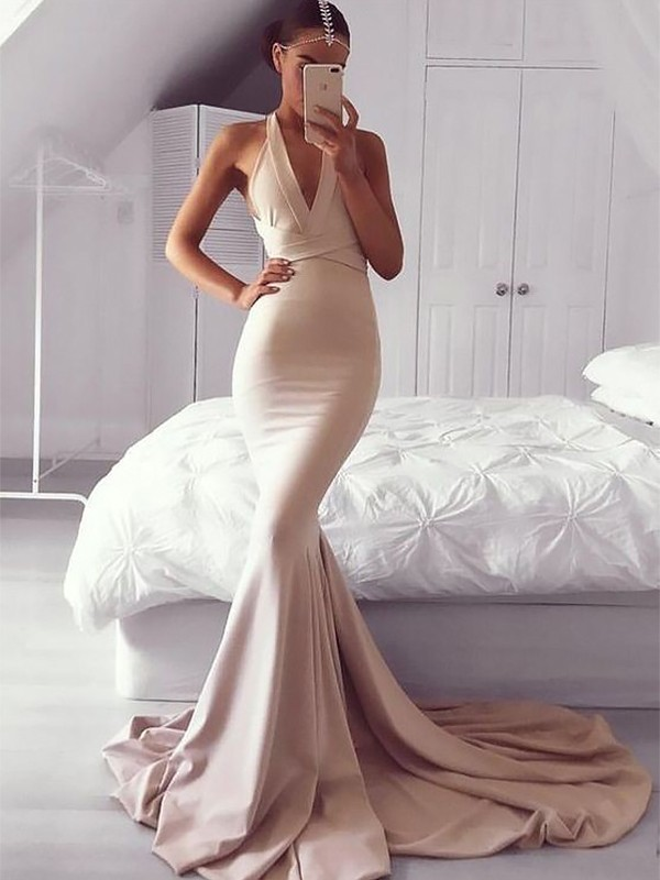 Sweep/Brush Train Trumpet/Mermaid V-neck Sleeveless Ruffles Satin Dresses