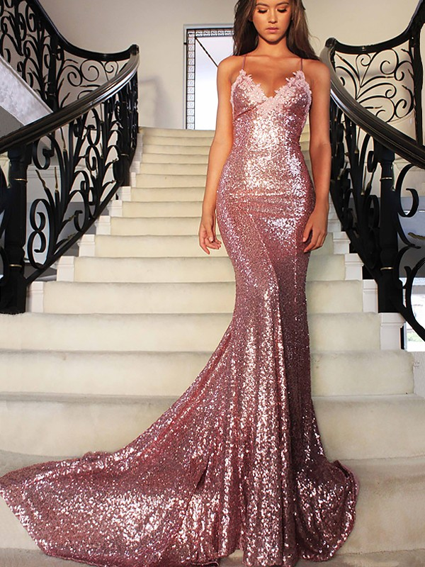 ad204c60bbf Sweep Brush Train Trumpet Mermaid V-neck Sleeveless Ruffles Sequins Dresses