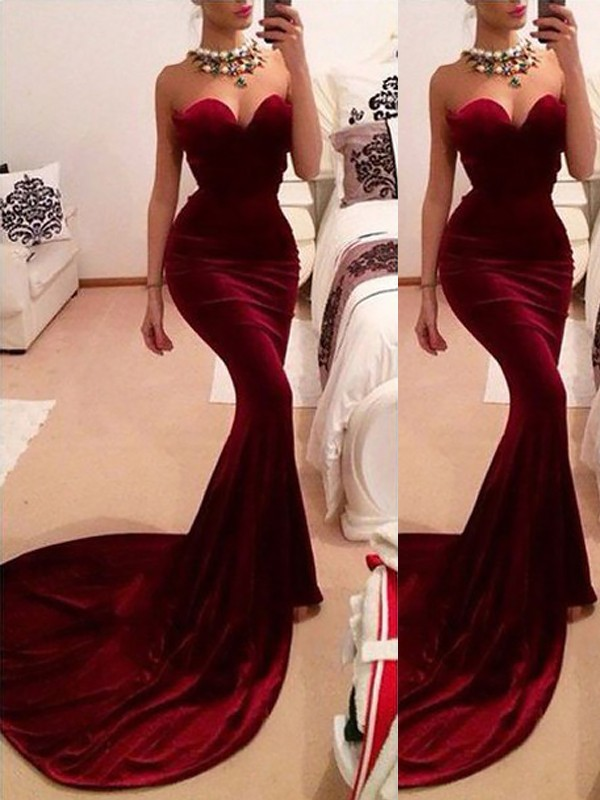 Sweep/Brush Train Trumpet/Mermaid Sweetheart Sleeveless Ruffles Velvet Dresses