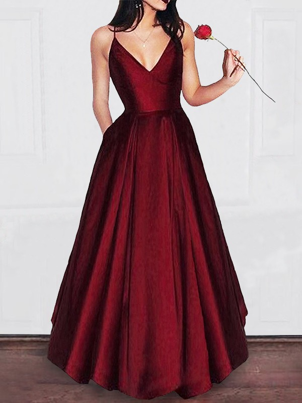 Floor-Length A-Line/Princess V-neck Ruffles Satin Dresses