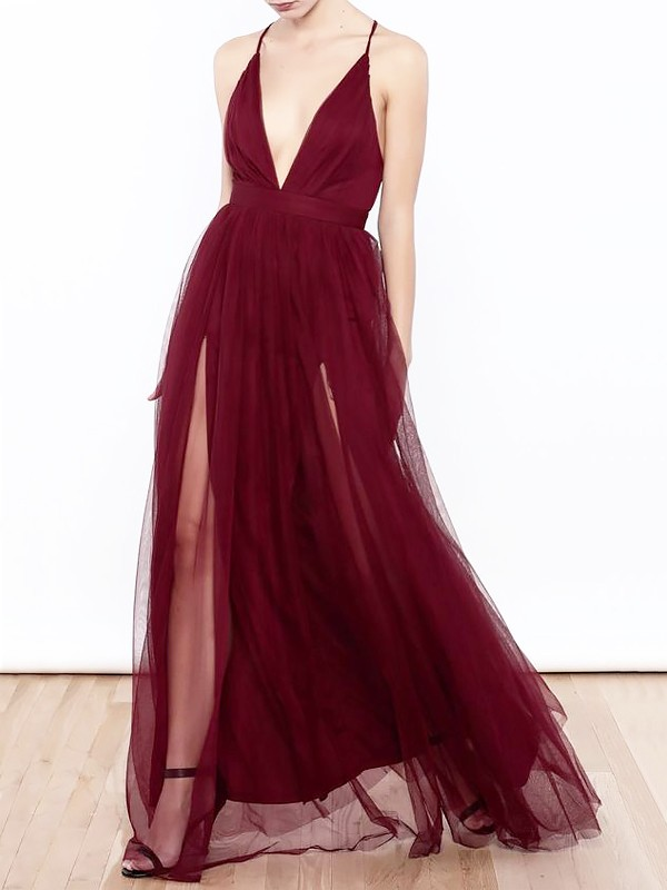 Floor-Length A-Line/Princess V-neck Ruffles Tulle Dresses