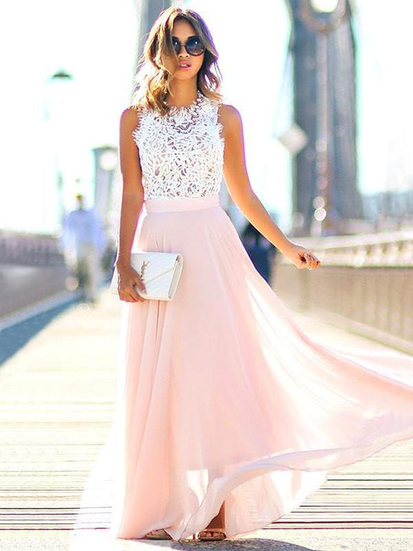 Floor-Length A-Line/Princess Jewel Sleeveless Lace Chiffon Dresses