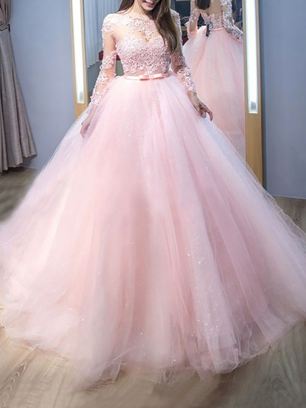 Sweep/Brush Train Ball Gown Jewel Long Sleeves Lace Tulle Dresses