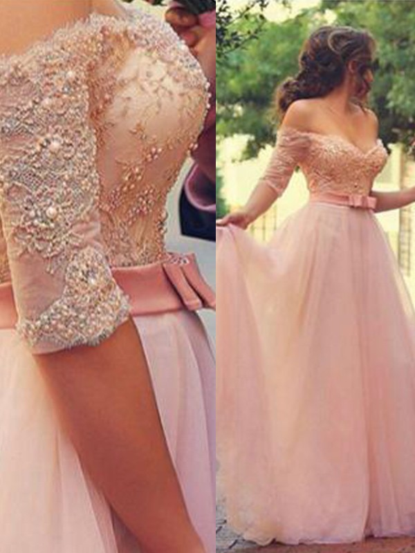 Floor-Length A-Line/Princess Off-the-Shoulder 1/2 Sleeves Lace Tulle Dresses