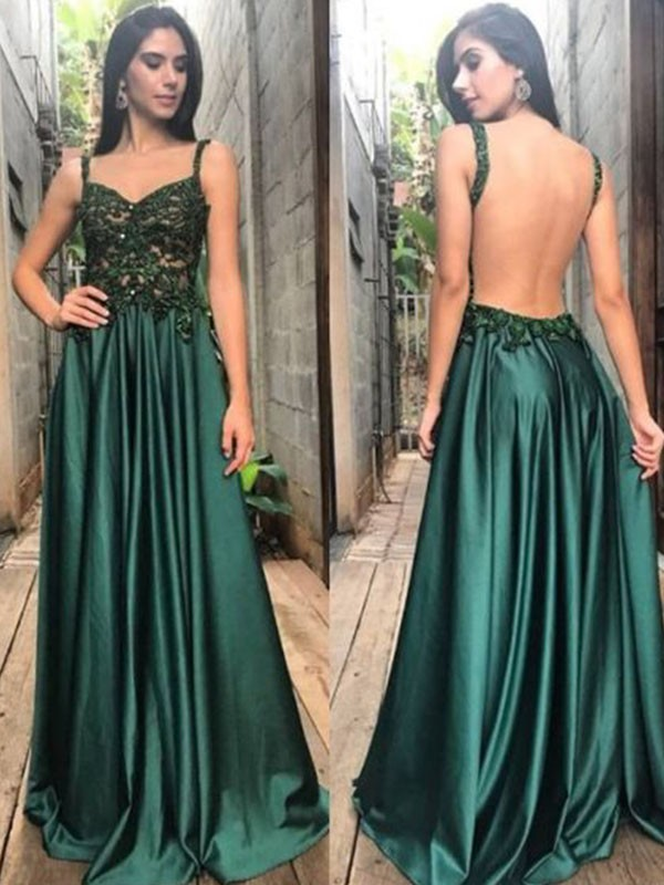 Floor-Length A-Line/Princess Sleeveless Straps Satin Dresses