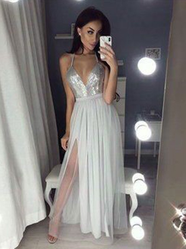 Floor-Length A-Line/Princess Sleeveless V-neck Chiffon Dresses