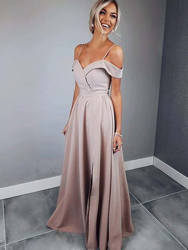 Floor-Length A-Line/Princess Short Sleeves Spaghetti Straps Satin Dresses