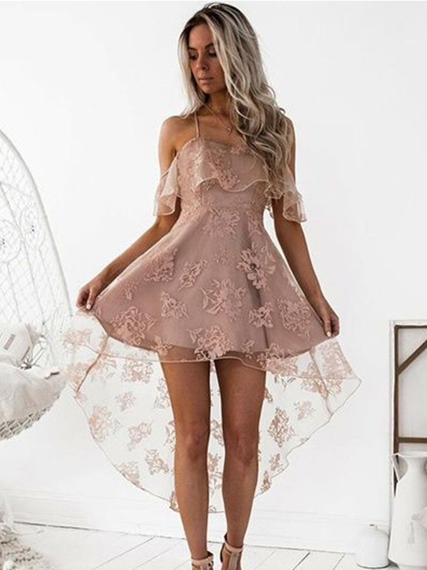 Short/Mini A-Line/Princess Off-the-Shoulder Sleeveless Lace Satin Dresses