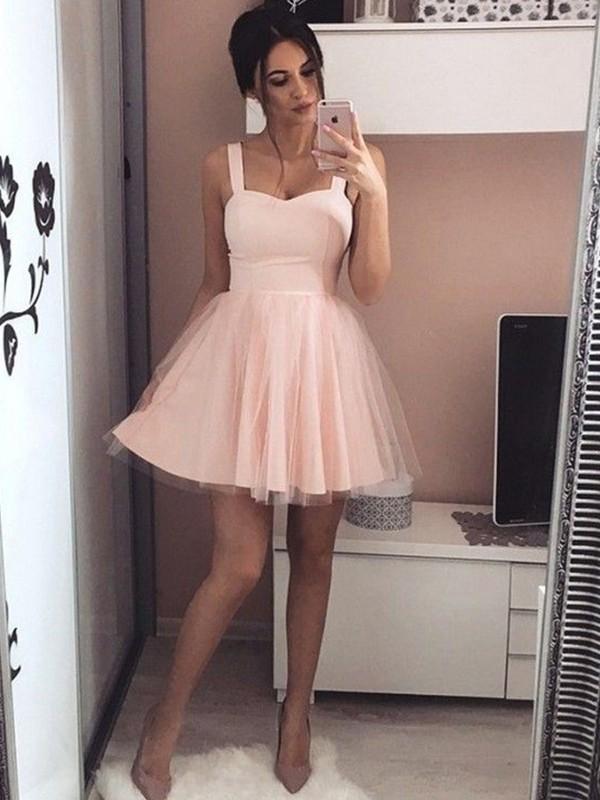 Short/Mini A-Line/Princess Straps Sleeveless Ruched Satin Dresses