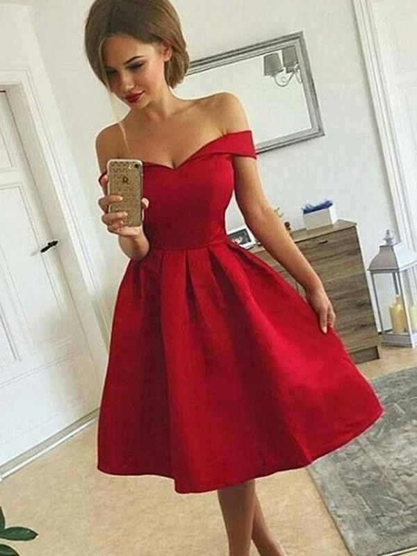 Short/Mini A-Line/Princess Off-the-Shoulder Sleeveless Ruched Satin Dresses