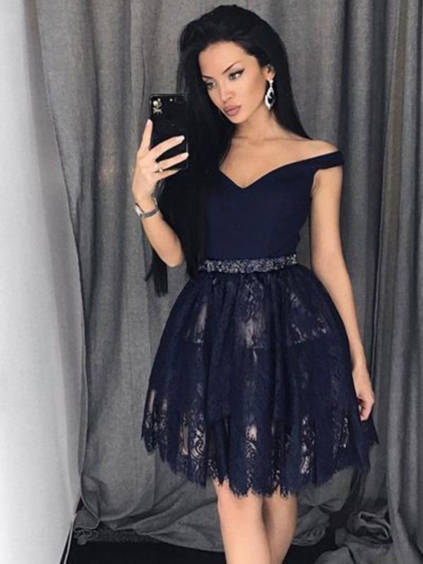 Short/Mini A-Line/Princess Off-the-Shoulder Sleeveless Beading Satin Dresses
