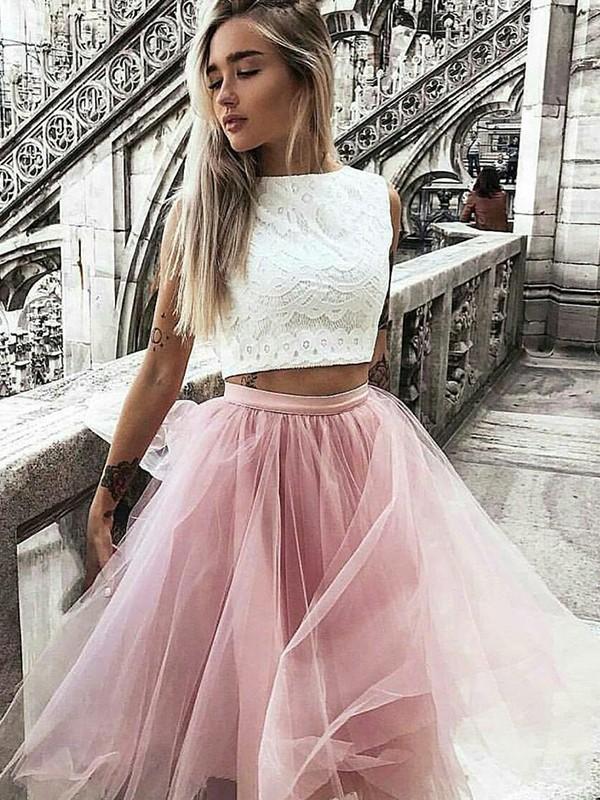 Knee-Length A-Line/Princess Bateau Sleeveless Lace Tulle Dresses