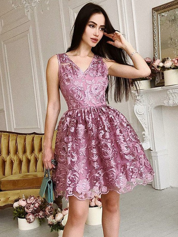 Short/Mini A-Line/Princess V-neck Sleeveless Ruched Organza Dresses