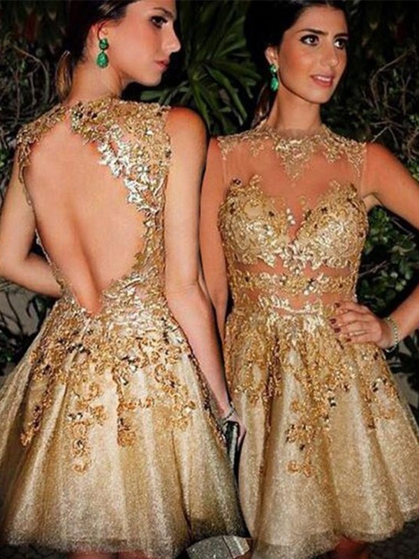 Short/Mini A-Line/Princess Bateau Sleeveless Applique Tulle Dresses