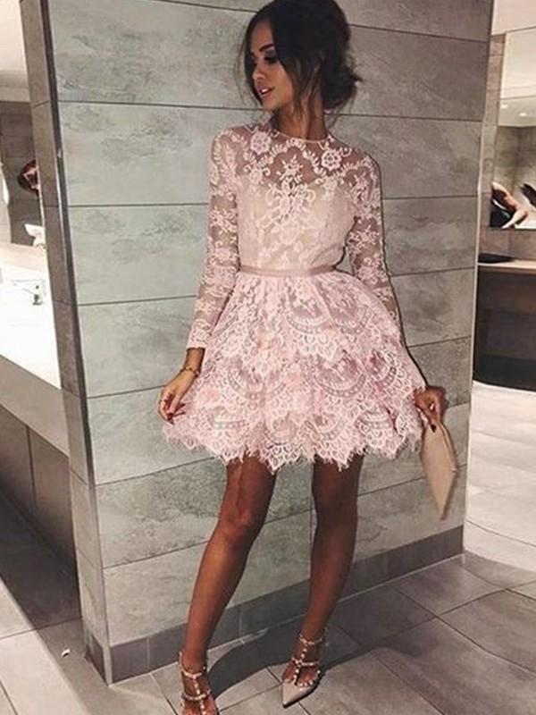 Short/Mini A-Line/Princess Bateau Long Sleeves Beading Lace Dresses