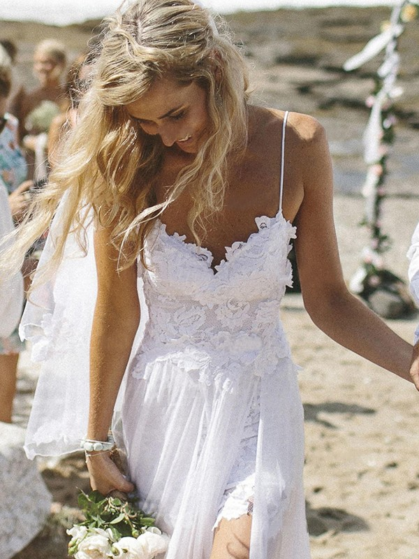Floor-Length A-Line/Princess Sleeveless V-neck Chiffon Wedding Dresses