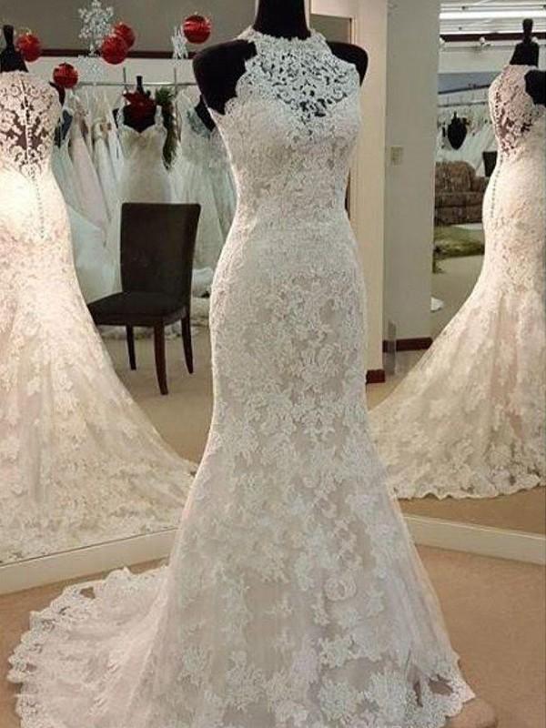 Sweep/Brush Train Sheath/Column Sleeveless Scoop Lace Wedding Dresses