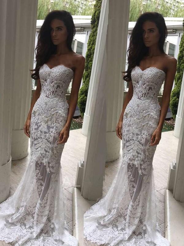Court Train Trumpet/Mermaid Sleeveless Sweetheart Lace Wedding Dresses