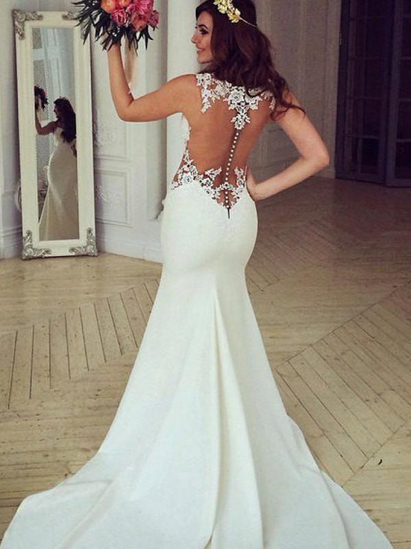 Sweep/Brush Train Trumpet/Mermaid Sleeveless Scoop Lace Wedding Dresses