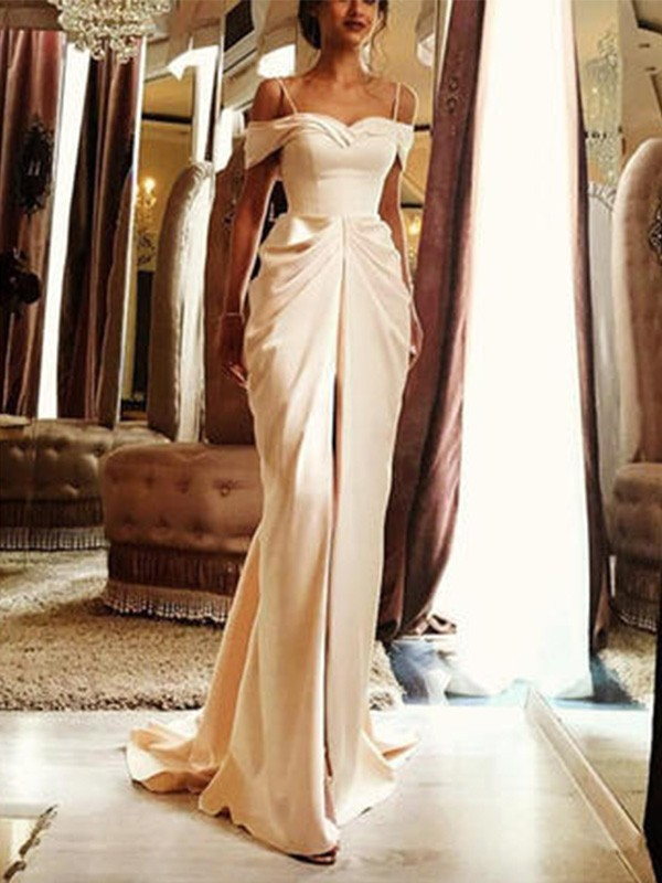 Sweep/Brush Train Sheath/Column Short Sleeves Off-the-Shoulder Silk like Satin Wedding Dresses