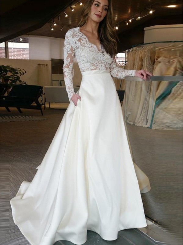 Sweep/Brush Train A-Line/Princess Long Sleeves V-neck Satin Wedding Dresses