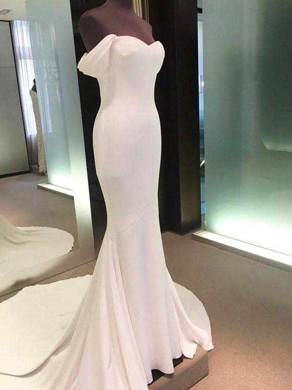 Court Train Sheath/Column Short Sleeves Off-the-Shoulder Spandex Wedding Dresses