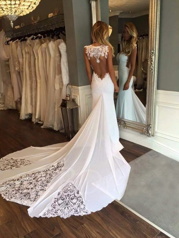 Cathedral Train Trumpet/Mermaid Sleeveless Sweetheart Lace Wedding Dresses