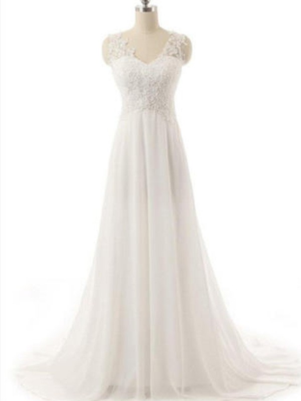 Sweep/Brush Train A-Line/Princess Sleeveless V-neck Chiffon Wedding Dresses