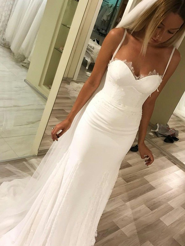 Sweep/Brush Train Sheath/Column Sleeveless Sweetheart Satin Wedding Dresses
