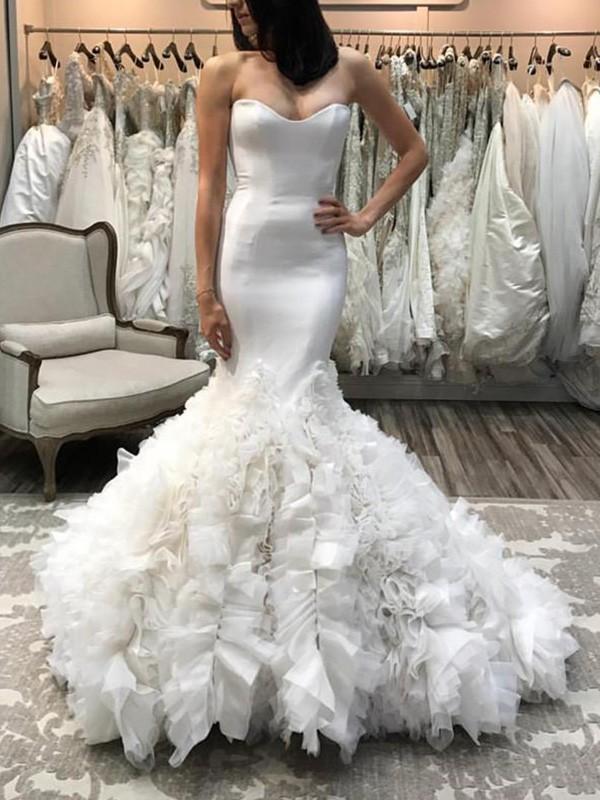 Court Train Trumpet/Mermaid Sleeveless Sweetheart Satin Tulle Wedding Dresses