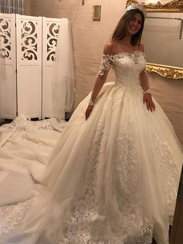 Cathedral Train Ball Gown Long Sleeves Off-the-Shoulder Tulle Wedding Dresses