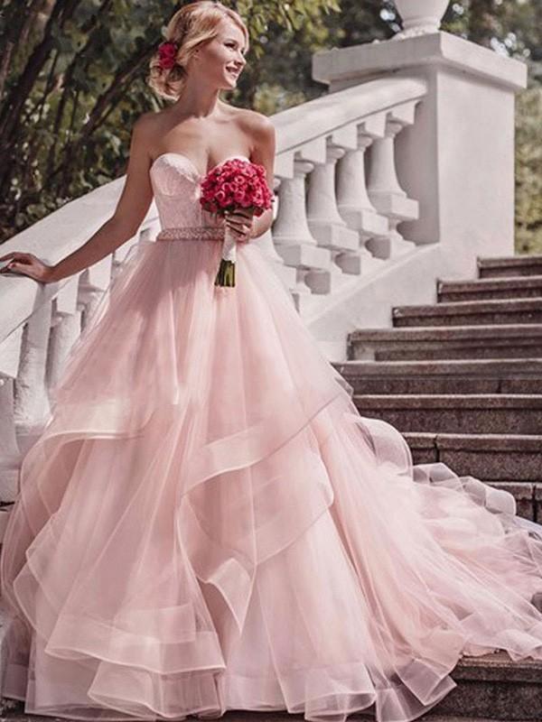 Court Train Ball Gown Sleeveless Sweetheart Organza Wedding Dresses