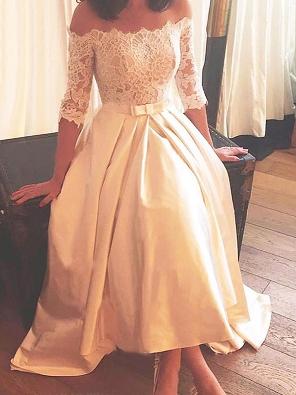 Asymmetrical A-Line/Princess 1/2 Sleeves Off-the-Shoulder Satin Wedding Dresses