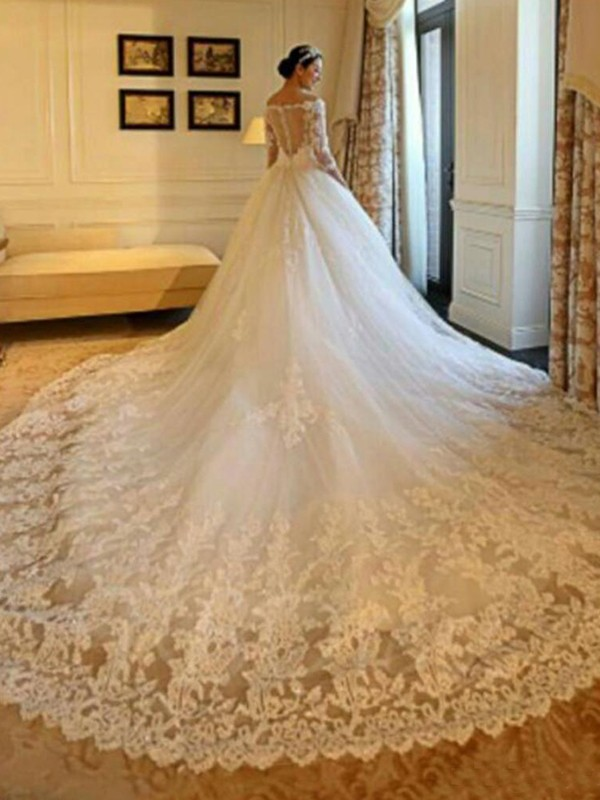 Cathedral Train Ball Gown 3/4 Sleeves Off-the-Shoulder Tulle Wedding Dresses