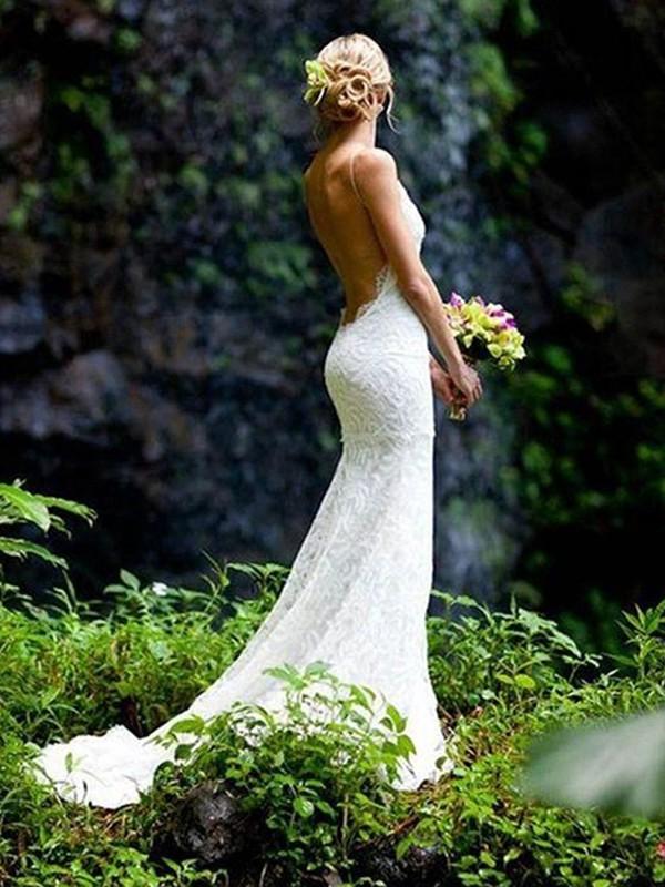 Court Train Sheath/Column Sleeveless V-neck Lace Wedding Dresses