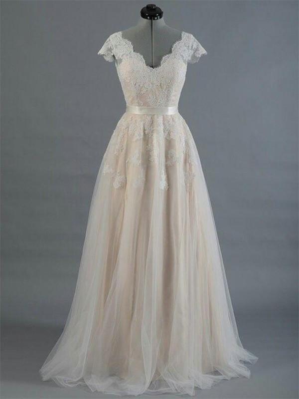 Floor-Length A-Line/Princess Sleeveless V-neck Lace Wedding Dresses